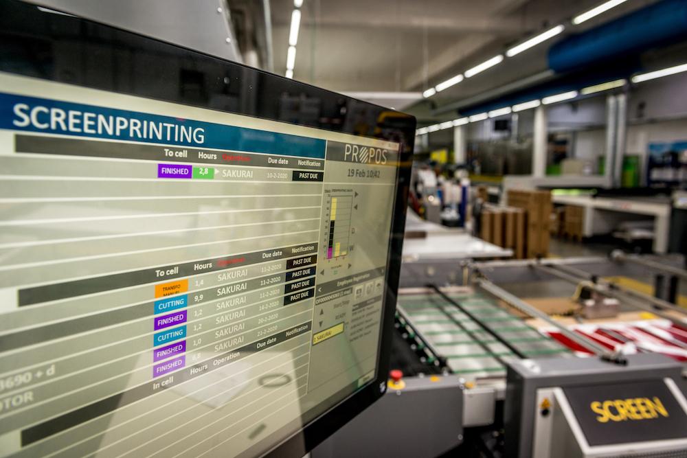 propos shop floor control met screen printing